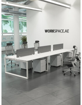 White - Ace Series Cluster of 6x Face to Face Workstation Desk