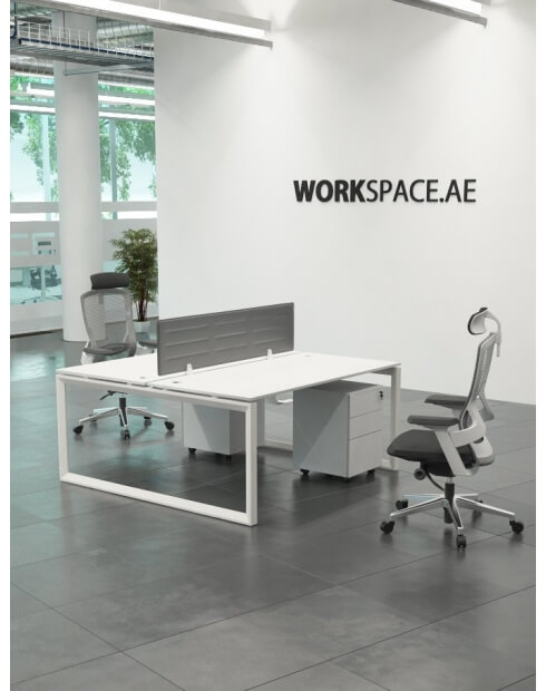 White - Ace Series Cluster of 2x Face to Face Workstation