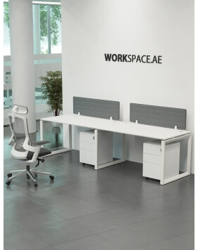 White Ace Series Cluster of 2 Single Line Workstation