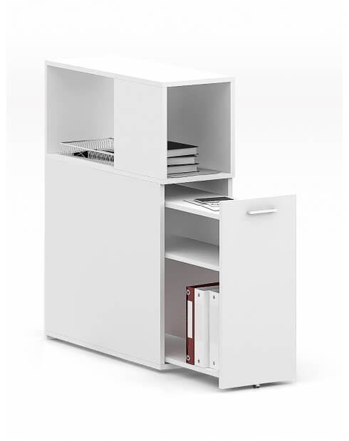 CASE White Desk-Height Pedestal with Top Cabinet