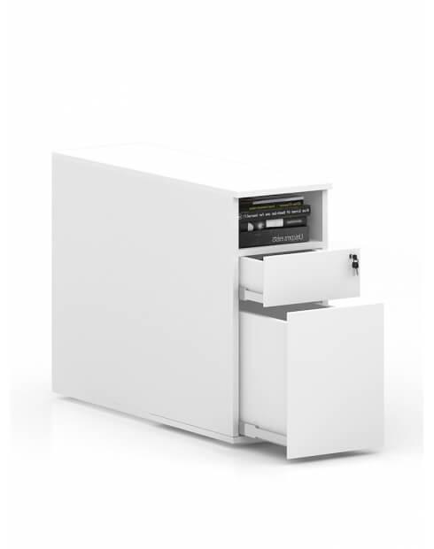 White - MARK Desk-Height Handleless Pedestal