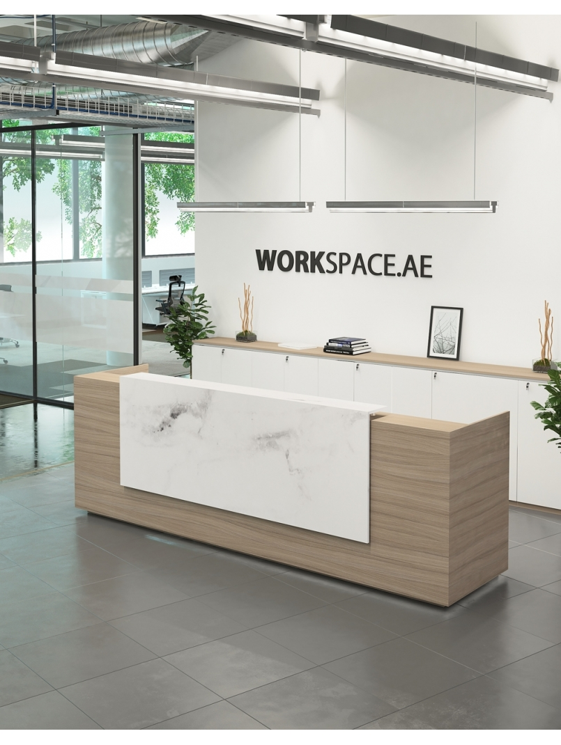 Image of: Venido Wooden Contemporary Reception Desk Workspace Office Furnit