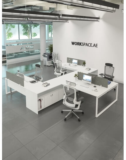 Ace Series Y-Shape Cluster of 4x Workstation Desk
