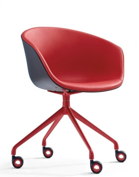 Frey Red Leather Designer Chair
