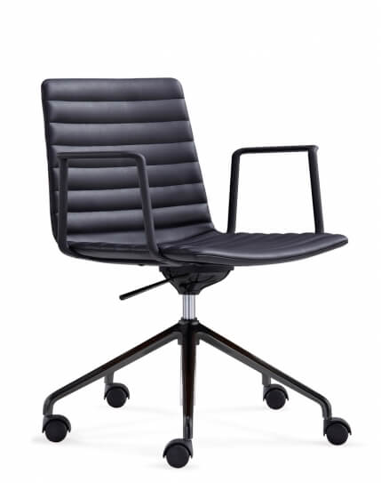 Simon Black Leather Designer Chair