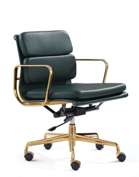 Eames Style Gold Green Leather Medium Back Chair