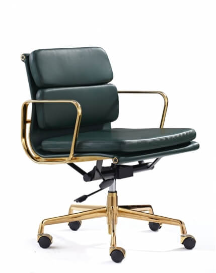 Eames Style Gold Green Leather Medium