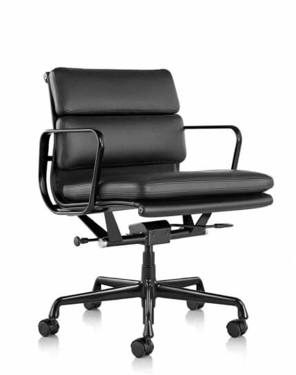 Eames Style Black Genuine Leather Padded Medium Back Chair