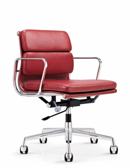 Eames Style Red Genuine Leather Padded Medium Back Chair