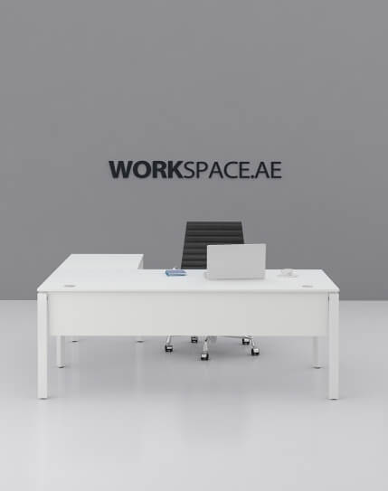 White Cuadro L-Shape Executive Desk