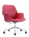 Rossa Leather Rose Red Low Back Swivel Chair