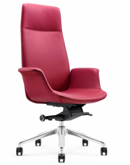 Rossa Leather Rose Red High Back Executive Chair