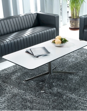 Y18 Super Brushed Steel Base Rectangular Coffee Table