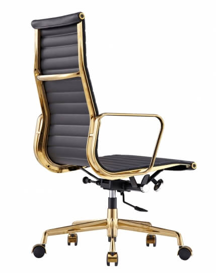 Eames Style Gold Frame Genuine Leather High Back Chair