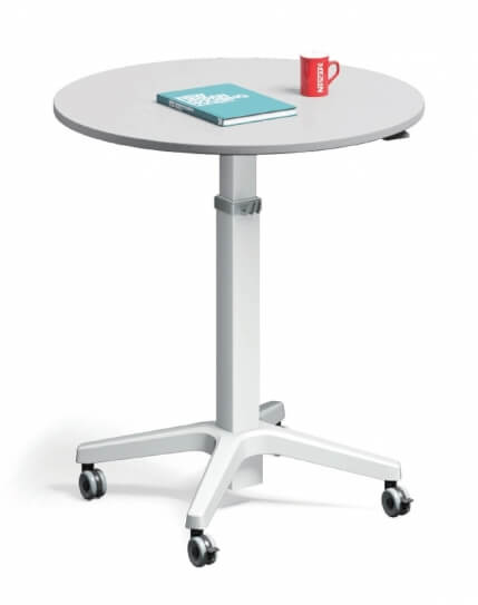 Leo Round Top Minimalist Mobile Height Adjustable Table