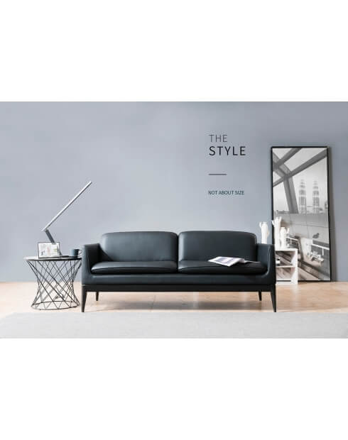 Zoom Black Brooklyn Minimalist Two Seater Modern Office Sofa