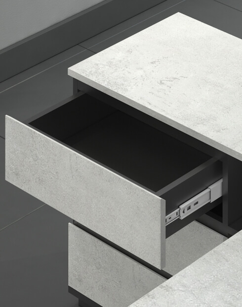 Drawers - Ace Pro Series Urban Concrete L-Shape Desk
