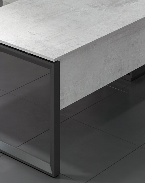 Closeup - Ace Pro Series Urban Concrete L-Shape Desk