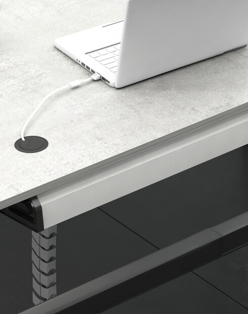 Closed - Under-Desk Cable Tray Horizontal Wire Management Cradle