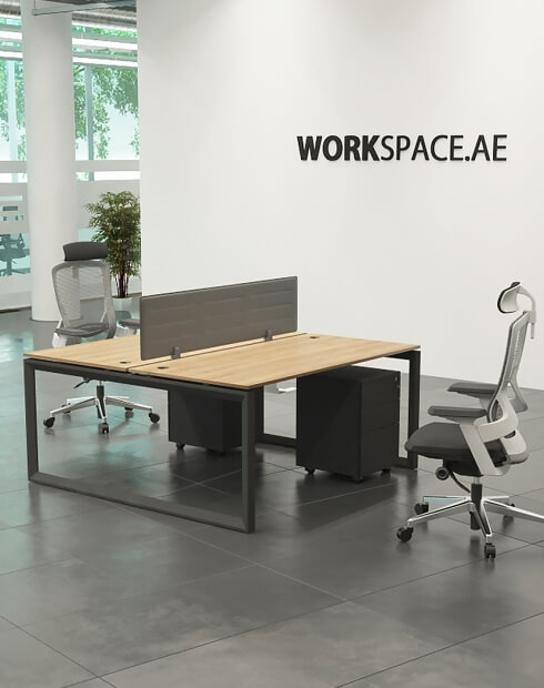 Black Ace Series Cluster of 2x Face to Face Workstation