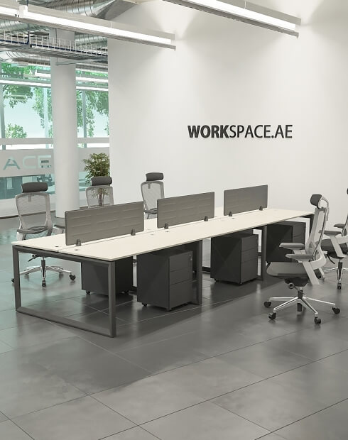 Black Ace Series Cluster of 6x Face to Face Workstation Desk