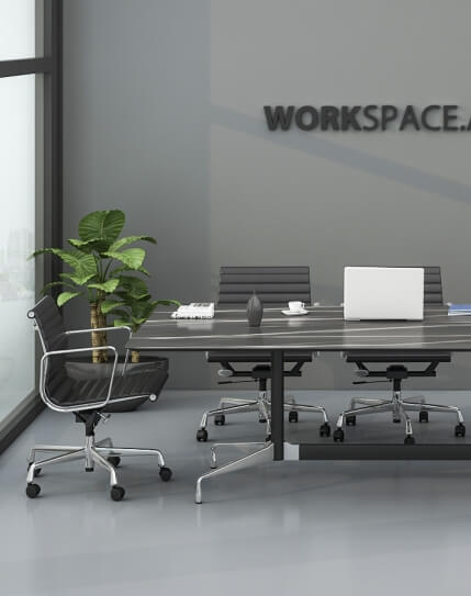 Eames Style Designer Black Marble Finish Meeting Table