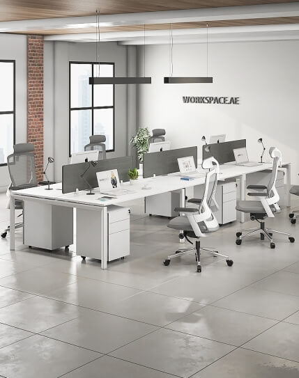 Cuadro Series Cluster of 6x Face to Face Workstation