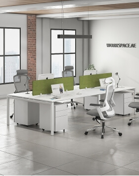 Cuadro Series Cluster of 4 Face to Face Workstation Desk