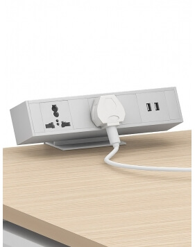 White Leon Desktop Clamp Mount Power Dock