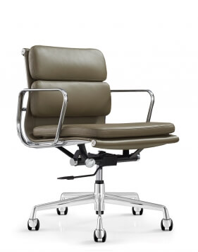Eames Style Stone Gray Genuine Aniline Leather Padded Medium Back Chair