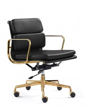 Eames Style Gold Frame Black Padded Medium Back Chair