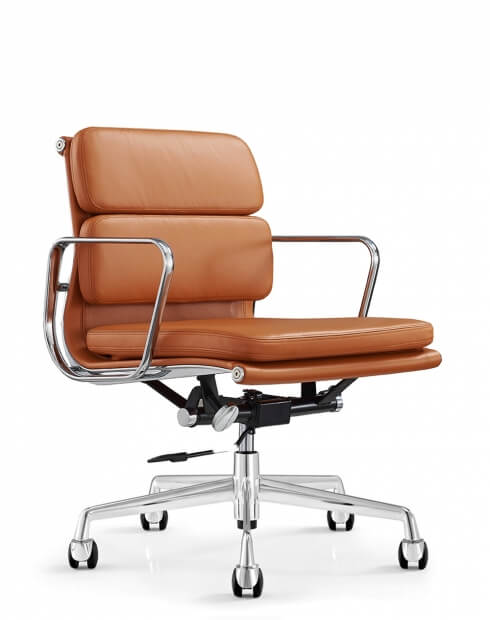 Eames Style Brown Genuine Aniline Leather Padded Low Back Chair