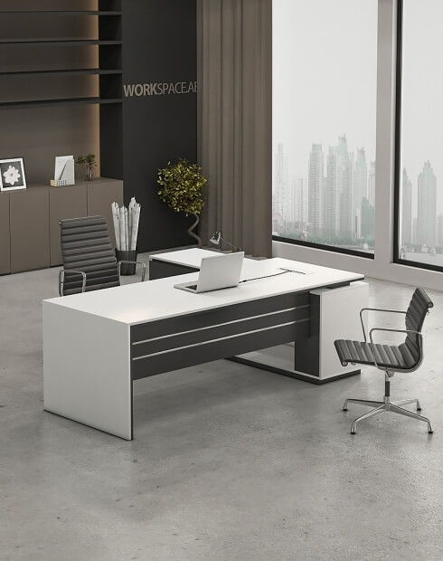 White - Levina L-Shape Desk