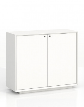 EDGE Series Chamfered Low Height 2 Door White Cabinet