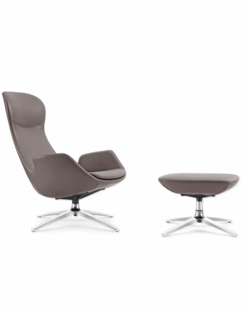 Swan Ash Gray Genuine Leather Lounge Chair with Ottoman