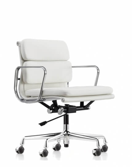 Eames Style White Genuine Aniline Leather Padded Medium Back Chair