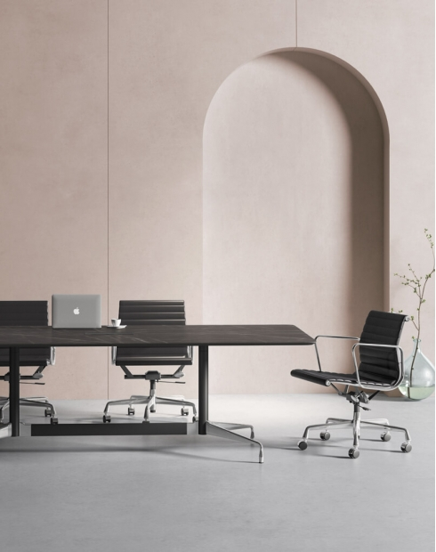 Stellar Designer Black Marble Finish Meeting Table