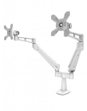 White Dual Arm Monitor Desk Mount Stand