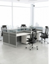 Focus Cluster of 4x Face to Face Cubicle Workstation with Glass