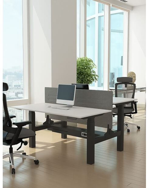 Black -Max Series® Cluster of 2x Height Adjustable Workstation Desk